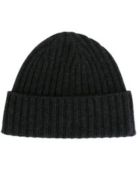 N.Peal Cashmere Ribbed Beanie - Grijs