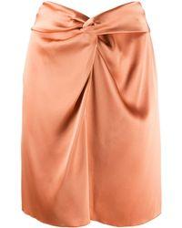 Nanushka Milo Draped Satin Mini Skirt - Orange