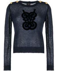 Giambattista Valli Appliqué-logo Knitted Sweater - Blue