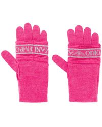Emporio Armani Logo Print Knit Gloves - Pink
