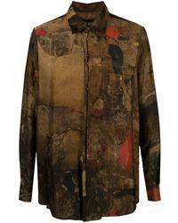 Uma Wang Abstract-print Long-sleeve Shirt - Brown