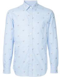 Gieves & Hawkes Embroidered fitted shirt - Bleu