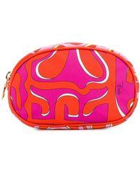 Emilio Pucci Abstract Print Make Up Bag - Orange