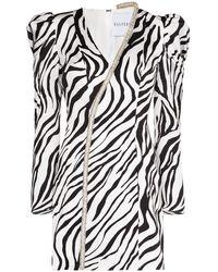 Halpern ゼブラプリント ドレス - ホワイト