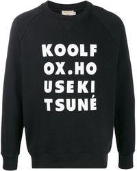 Maison Kitsuné Felpa Kool Fox con stampa - Nero