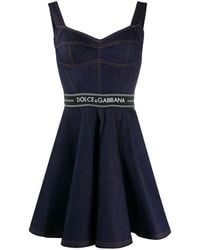Dolce & Gabbana フレアデニムドレス - ブルー