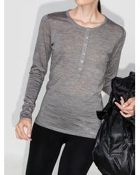 FALKE Long-sleeve Button Placket Top - Grey