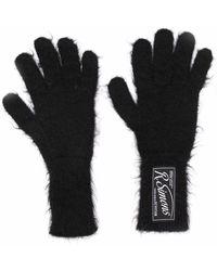 Raf Simons Logo-patch Wool-blend Gloves - Black