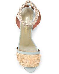 Sarah Chofakian Block Heel Lace Up Sandals - Blue