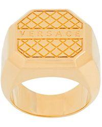 Versace Anillo con logo gráfico - Metálico