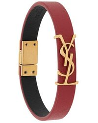 Saint Laurent Armband Met Logoplakkaat - Rood