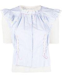 Maison Margiela Pointelle Knitted Shirt Jumper - White