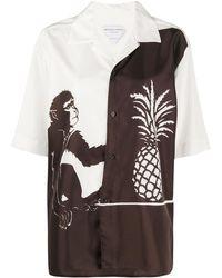 Bottega Veneta Рубашка С Принтом - Коричневый