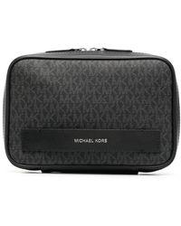 Michael Kors Monogram-print Clutch Bag - Black