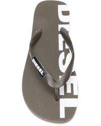DIESEL Sa-briian Logo Print Flip-flops - Green