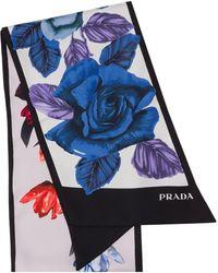 Prada Double Match シルクスカーフ - ブルー