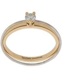 Delfina Delettrez Twee In Één Diamanten Ring Van 18kt Geel En Wit Goud - Metallic
