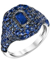 SHAY 18kt White Gold Sapphire Pinky Ring - Metallic