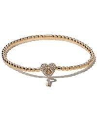 AS29 18kt Yellow Gold Alf Heart And Key Extendable Diamond Bracelet - Metallic