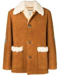 Gucci Floral-appliquéd Lamb Shearling Jacket - Brown