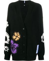 McQ Genesis Floral Embroidered Cardigan - Black