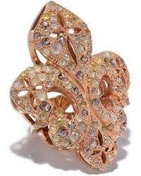Loree Rodkin Giant Diamond Pave Fleur-de-lis Ring - Metallic