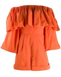 Valentino Bow Detail Playsuit - Orange