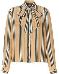 Burberry Блузка В Полоску Icon Stripe С Бантом - Черный