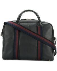 Paul Smith Webbed Strap Leather Duffel Bag - Black