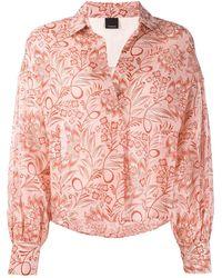 Pinko Блузка С Цветочным Принтом - Розовый