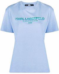 Karl Lagerfeld アドレスロゴ Tシャツ - ブルー