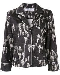 Marina Moscone Contrast Trim Blazer - Black