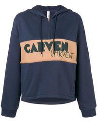Carven - Logo Patch Half Zip Hoodie - Lyst
