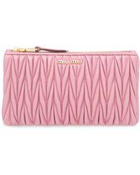 Miu Miu Matelassé Nappa Leather Envelope Clutch - Pink