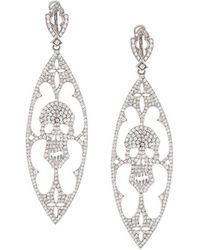 Loree Rodkin Diamond Skull Drop Earrings - Metallic