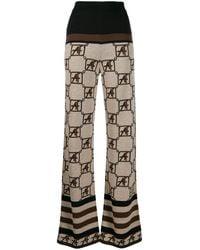 Alberta Ferretti Geometric Pattern Knitted Trousers - Brown