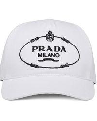 Prada Embroidered Logo Baseball Cap - White