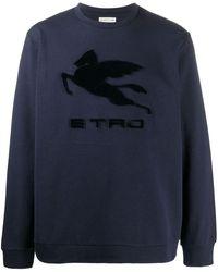 Etro Толстовка С Фактурным Логотипом - Синий