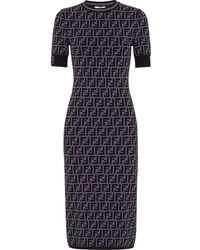Fendi Ff Motif Fitted Dress - Grey