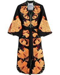 Yuliya Magdych Robe Lilies à manches bouffantes - Noir