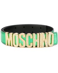 Moschino ロゴプレート ベルト - グリーン