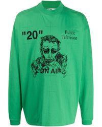 Off-White c/o Virgil Abloh T-shirt Met Print - Groen