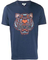 KENZO Camiseta con estampado de tigre - Azul