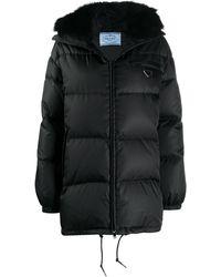 Prada Hooded Puffer Coat - Black