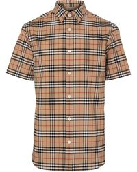 Burberry Short-sleeve Check Stretch Cotton Shirt - Meerkleurig
