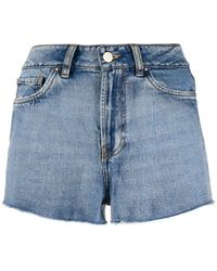 Esteban Cortazar Embroidered denim shorts - Blu