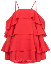 Strateas Carlucci - Frill Tiered Mini Dress - Lyst