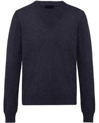 Prada カシミア Vネックセーター - ブルー