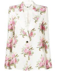 Paco Rabanne Floral-print Tailored Blazer - White