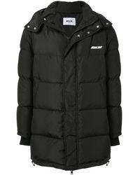 MSGM キルティング フーデッド ジャケット - ブラック